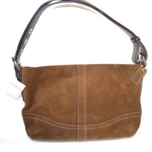 Coach East West Brown Suede Duffle